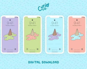Melted Ice Cream Mobile Wallpaper Pack | Cute Phone Background Bundle | Digital Download
