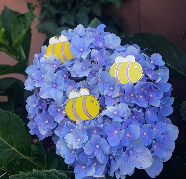 ChubBee  Gold Hard Enamel Glitter Pin  Cute Bee Pin  image 1