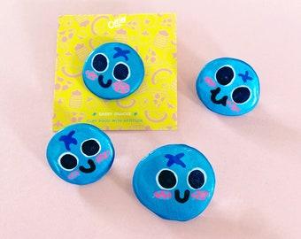 Bluebs - Sassy Snacks Handmade Clay Pin | Blueberry Fruit Polymer Badge | Cute Food Lapel Pin