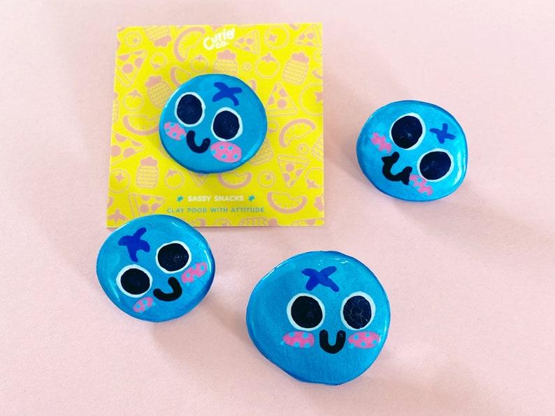 Bluebs  Sassy Snacks Handmade Clay Pin  Blueberry Fruit image 1