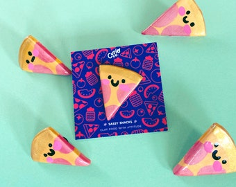 It's Pizza Time! - Sassy Snacks Handmade Clay Pin | Pizza Slice Polymer Badge | Cute Food Lapel Pin