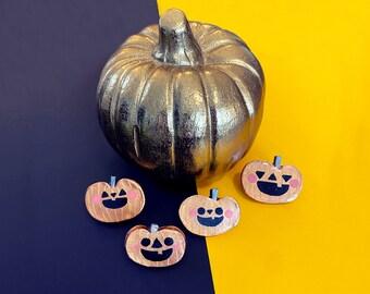 Golden Punkin - Sassy Snacks Handmade Clay Pin | Spooky Squash Polymer Badge | Cute Pumpkin Lapel Pin | Fall Brooch