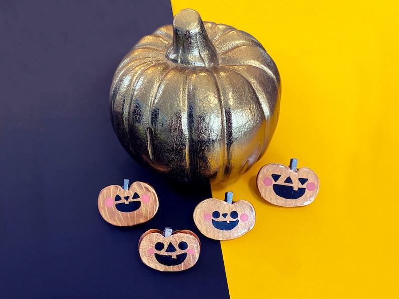Golden Punkin  Sassy Snacks Handmade Clay Pin  Spooky Squash image 1