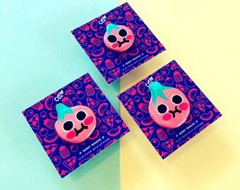 Beefy Boi - Sassy Snacks Handmade Clay Pin | Vegetable Fruit Polymer Badge | Cute Tomato Food Lapel Pin