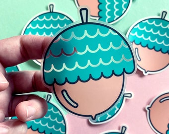 The Mighty Acorn - Clear Vinyl Sticker | Cute Nature Sticker | Waterproof Decal
