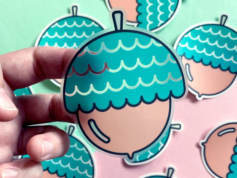 The Mighty Acorn  Clear Vinyl Sticker  Cute Nature Sticker  image 1