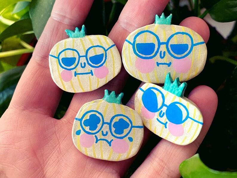 Friend Onions  Sassy Snacks Handmade Clay Pin  Emotional image 1
