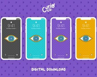 All-Seeing Eye Mobile Wallpaper Pack | Magic Phone Background Bundle | Digital Download