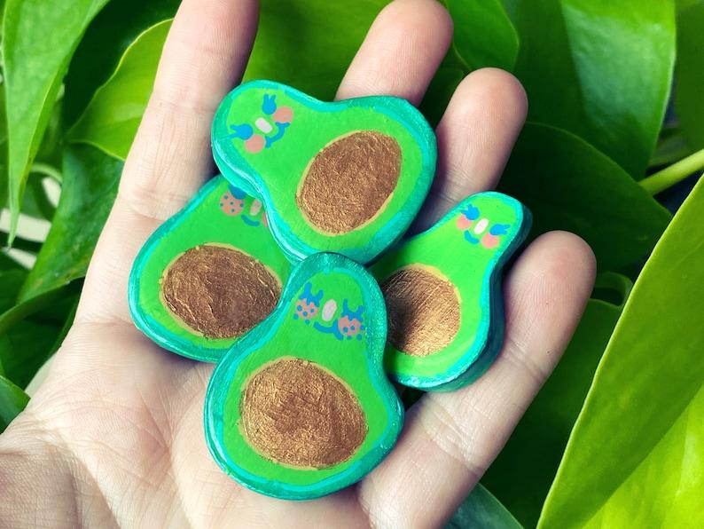 Avocuties  Sassy Snacks Handmade Clay Pin  Avocado Polymer image 1