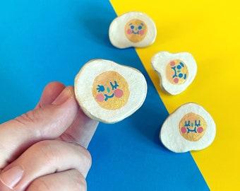 Sunny Side Ups - Sassy Snacks Handmade Clay Pin | Winking Egg Polymer Badge | Cute Smiling Egg Lapel Pin | Food Brooch