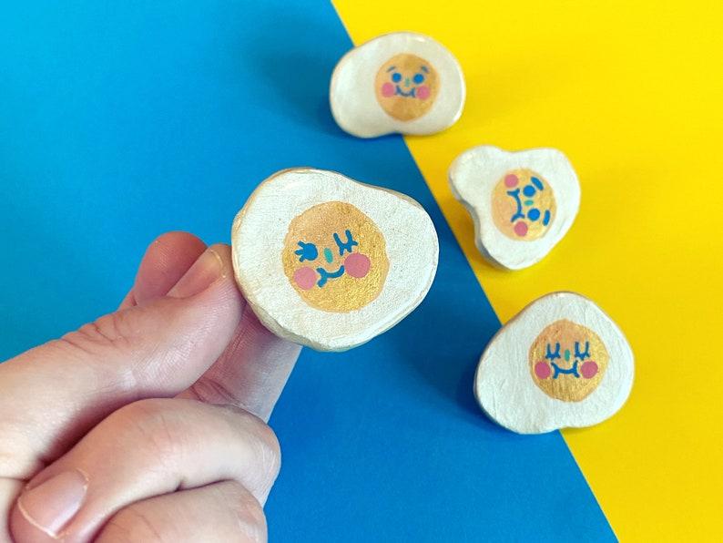 Sunny Side Ups  Sassy Snacks Handmade Clay Pin  Winking Egg image 1