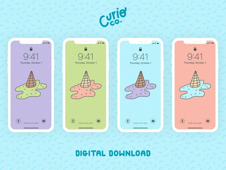 Melted Ice Cream Mobile Wallpaper Pack  Cute Phone Background image 1