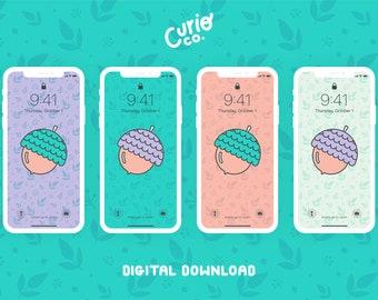 The Mighty Acorn Wallpaper Pack | Nature Phone Background Bundle | Oak Digital Download