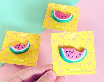 Whatevermelon - Sassy Snacks Handmade Clay Pin | Watermelon Fruit Polymer Badge | Cute Food Lapel Pin