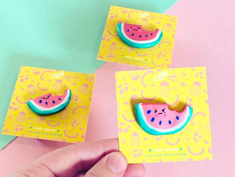 Whatevermelon  Sassy Snacks Handmade Clay Pin  Watermelon image 0