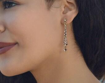 Art Deco Earrings, Silver Earrings, Crystal Earrings, Silver Linear Earrings, Wedding Earrings, Bridal Earrings, Vintage Style Earrings E935