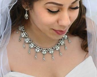 Crystal Wedding Necklace, Silver Necklace, Crystal Necklace, Crystal Jewelry, Collar Necklace, Wedding Necklace, Wedding Jewelry N567