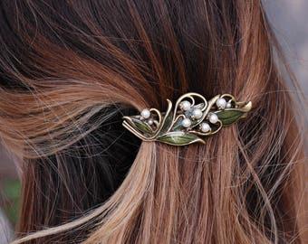 Lily of the Valley Bridal Barrette, Wedding Barrette, Hair Accessory, Hair Barrette, Flower Hair Clip, Wedding Hair Accessories B533