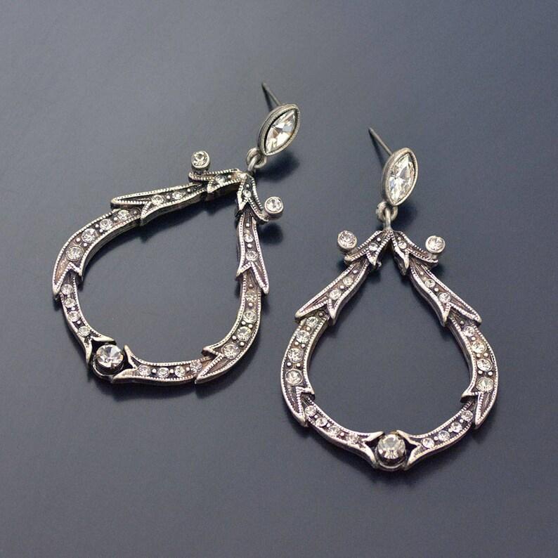 Creolen Kristall Crystal E1154 HochzeitsohrringeGroße Braut CreolenSilber OhrringeSilberne Loop HochzeitsschmuckVintage Ohrringe c3jLRqS54A