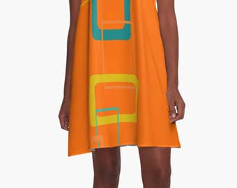 Orange Geometric Summer Dress Mod Dress Mini Dress Chiffon Dress Retro Geometric Orange Causal Dress Party Dress gift for Her