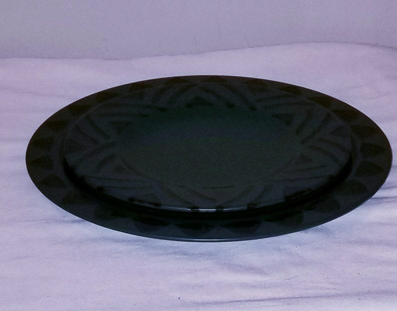plates 1990s Vintage Dinner- plates and Salad plate -Stoneware- Ceramics-Serving -Dishes Pfaltzgraff Midnight Sun Dark green and Black