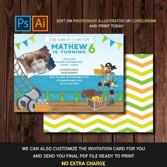 Editable Birthday Invitation Card Pirate Pirate Party Invitations Invitation Templates Pirate Party Supplies Ai Eps And Psd Files