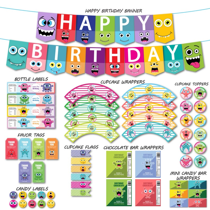 Little Monster Birthday Decorations Package DIY Party