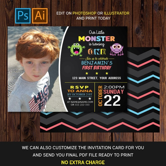 Editable Birthday Invitation Card Monster Party Invitation Template Instant Download Ai Eps And Psd Templates