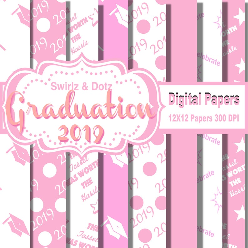 Graduation scrapbook paper Pink and White 2019 Graduation themed digital scrapbook paper Grad Paper - Printable graduation paper