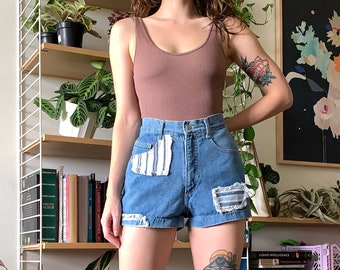 """Vintage Striped Patch High Waisted Vintage Shorts // 24"""" 25"""""""