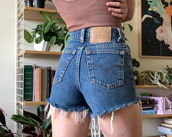 Vintage 512 Levi's Cut Off Blue Denim Shorts // 23 24 XS 00 0