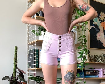 One of a Kind Vintage Levi's Sample Piece High Waisted Button Fly Shorts in Pink / Purple - Made in USA // XXS XS 00 22