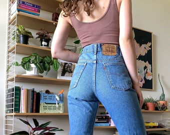 """80's Vintage Levi's 517 Orange Tab High Waisted Jeans, Made in USA // 27"""" 28"""""""