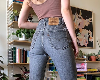 """80's Vintage Levi's 517 Orange Tab Black Grey High Waisted Jeans, Made in USA // 28"""" 29"""""""