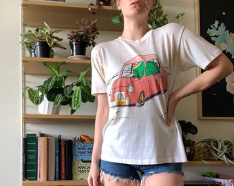 """RARE 1985 Gary Larson """"I 8 N.Y."""" Reptile in Car Single Stitch Tee  - Universal Press Syndicate // Size XS S Small"""