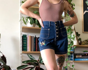 """Vintage Mickey Mouse, Minnie Mouse Button Fly Dark Wash Blue Denim Shorts // 27"""""""