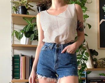Vintage Cream and Brown Striped Tank Top // Small S