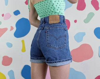 862d416a Levi's 555 Vintage High Waisted Mom Jean Denim Shorts // Women's Size 35