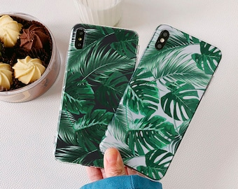 Tropical Leaves Google Pixel 3a case OnePlus 6T 7 pro case Pixel 4 XL Google Pixel 2 pixel 2 case pixel 2 casepixel 3 Silicone Clear 17