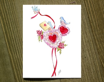 Hearts and Bluebirds - Note card sets featuring designs by Jackie Rizzo - Pack of 12 with envelopes