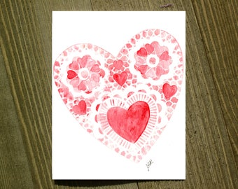 Heart Stencil - Note card sets featuring designs by Jackie Rizzo - Pack of 12 with envelopes