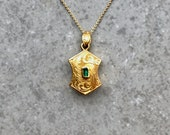 Antique Victorian era 18k Yellow Gold Engraved Shield Shaped Pendant with Hair Compartment, Optional Necklace available