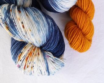 Sock Set. Hand Dyed NZ Sock Knitting Yarn. Naval Gazing