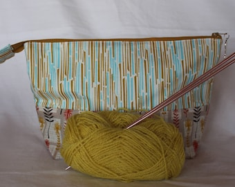 Zipper sock project bag  zipper pouch - knitting bag - sock knitting bag