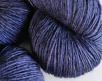 Blue Black Hand Dyed Merino Silk Single Ply - One Night Stand