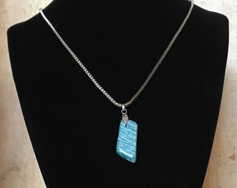 Amazonite necklace - Polished stone on stainless steel chain