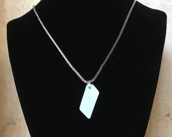 Pale Amazonite necklace - Polished stone on stainless steel chain