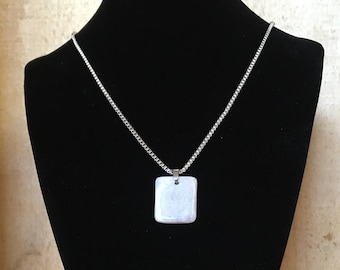 Microline necklace - Polished stone on stainless steel chain