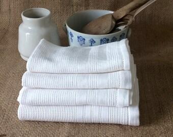 Français ancien serviettes en nid d'abeille, Antique torchons Français, en coton nid d'abeille, Antique essuie-mains, serviettes de cuisine Vintage, cuisine Français,
