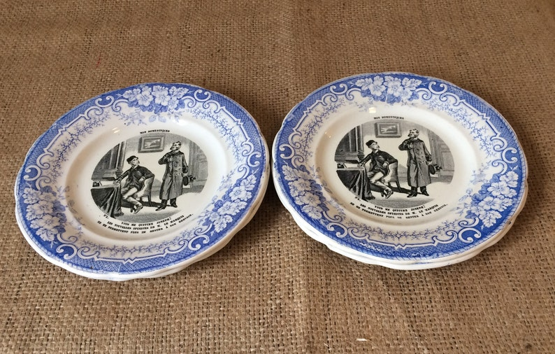 Collectible talking plates French Antique Ironstone Dessert Plate Creil et Montereau blue plates Humour Domestic workers plates,